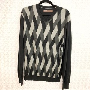 Perry Ellis Striped V Neck Pullover Sweater